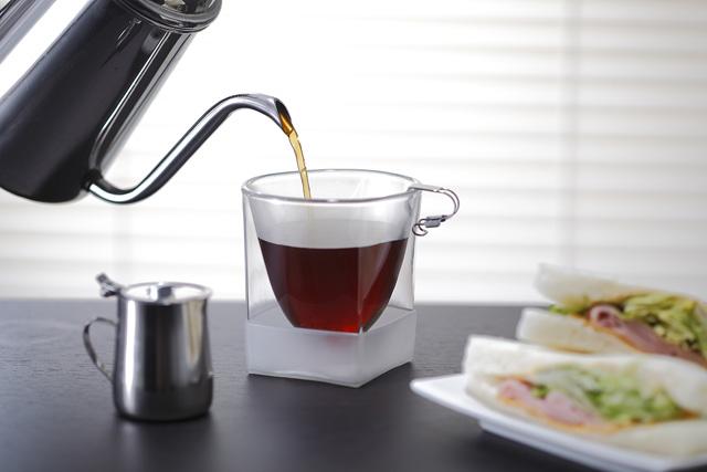 コーヒー 珈琲グラス ガラス サンドウィッチ rayes レイエス スクエア ダブルウォールグラス
